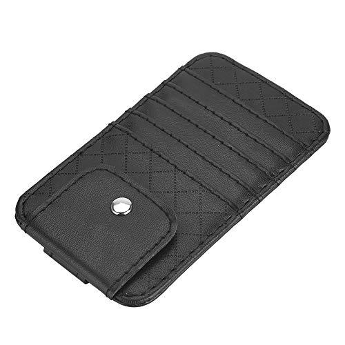Organizador de visera de coches negro, con material de cuero Material de cuero Material de Coche Sun Visor Accesorios Interior de bolsillo