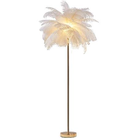Lampadaire en plumes, lampadaire de couloir de bureau de chambre à coucher de salon, 1,55 m de haut, lampe sur pied en cheveux d'autruche naturel blanc nordique, lampes de base en métal galvanisées e