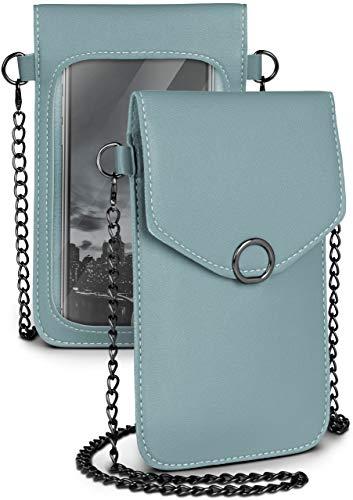 moex Bolso bandolera para todos los móviles Meizu – Bolso pequeño para mujer con compartimento separado para teléfono móvil y ventana – Bolso cruzado azul claro