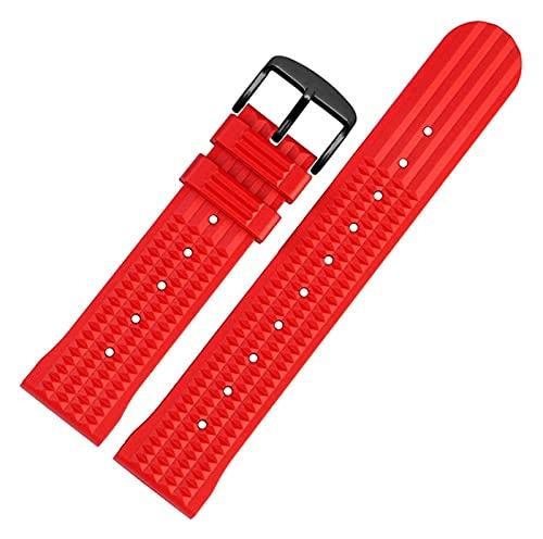 Beapet Banda de Reloj de Silicona 20 mm 22 mm Reloj de Goma Correa para Hombres Deporte Pulsera de muñeca a Prueba de Agua Pulsera de Reloj para Omega (Color : 20mm, Size : Red B)