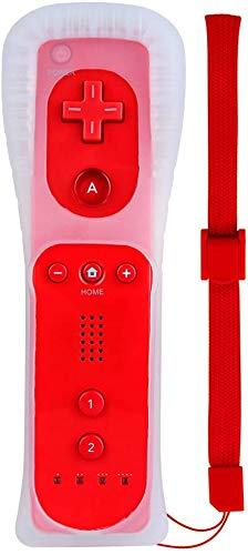 Hokyzam - Telecomando per Wii/Wii U, telecomando di ricambio con custodia in silicone e cinturino da polso, colore: Rosso