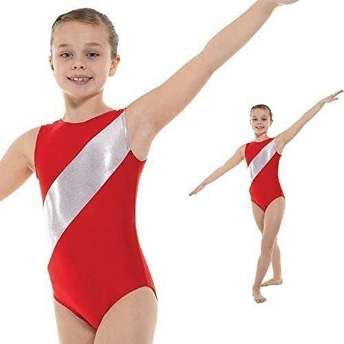 Girls Gymnastics Leotard Sleeveless Lycra with argent Stripe GYM5 (rouge, 11-12 years) by Tappers & Pointers