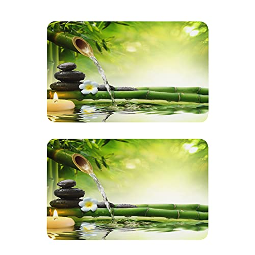 Hunihuni - Imán para nevera (2 unidades), diseño de flores japonesas de piedra zen de bambú japonés