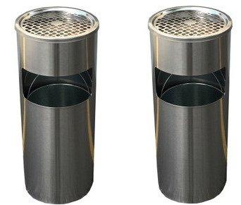 2個セット ゴミ箱付き灰皿 A-085H 丸型 シルバー 灰皿 業務用ゴミ箱 屋外灰皿 スタンド灰皿 屋外用灰皿 業務用 分煙 公共施設 ホテル レストラン ショッピングセンター