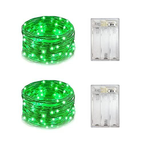 Yongzhenlite Set mit 2 batteriebetriebenen Mini-LED-Lichterketten mit Tauftropfen-Lichtern mit Timer, 6 Stunden an/18 Stunden aus, für Hochzeiten, Partydekorationen, 30 LEDs,(grüne Farbe)