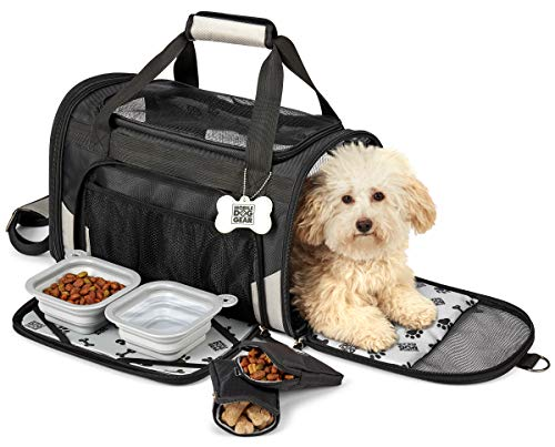 Mobile Dog Gear, Pet Carrier Plus, Small Dog Carrier Includes 2 Lined Food Carriers, Placemat and 2 Collapsible Dog Bowls, Black