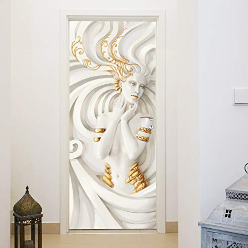 murimage Papel Pintado Puerta Sirena 3D 86 x 200 cm Incluye Pegamento Art Nouveau Escultura Mujer Relieve Blanco Fotomurales Pared