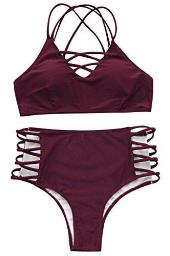 SEASELFIE Women's High Waisted Push Up Cross Padding Bikini Bathing Suit, M Wine Red