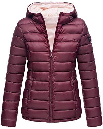 Marikoo Damen Jacke Steppjacke Herbst Winter Übergangsjacke gesteppt B651 (Gr. M/Gr. 38, Weinrot)