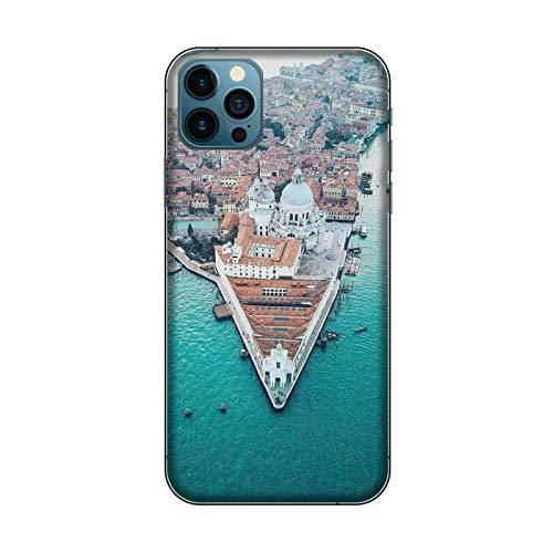 Desconocido Funda iPhone 12 Carcasa Apple iPhone 12 Ciudades Italianas Venecia/Cubierta en TPU y Vidrio/Cover Antideslizante Antideslizante Antiarañazos Resistente a Golpes Protectora Rígida