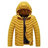 Sinifer Men's Winter Hooded Coat Warm Puffy Jacket Thicken Cotton Lightweight Outwear with Removable Hood(15-Yellow 3XL)