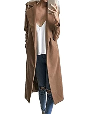 CHARLES RICHARDS CR Women's Lapel Wool Blend Longline Winter Fall Warm Coat Overcoat Khaki from