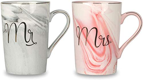 Tougo Set di 2/14 oz Mr e Mrs Tazze da caffè Tazze Regali Set per Coppie per Matrimonio Anniversario, per Sposa e Sposo, Idea Regalo per Copie Appena Sposati, Regalo di Natale