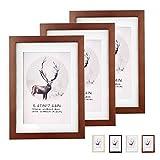 Weiao Cadre Photo Cadre Photo Bois Livré avec Réglable Support Lot de 3 Cadres Photo en Bois Composite Massif Convient pour...