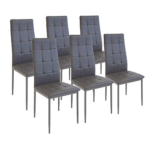 Albatros International GmbH Esszimmerstühle Rimini, 6-er Set Grau, SGS gestestet