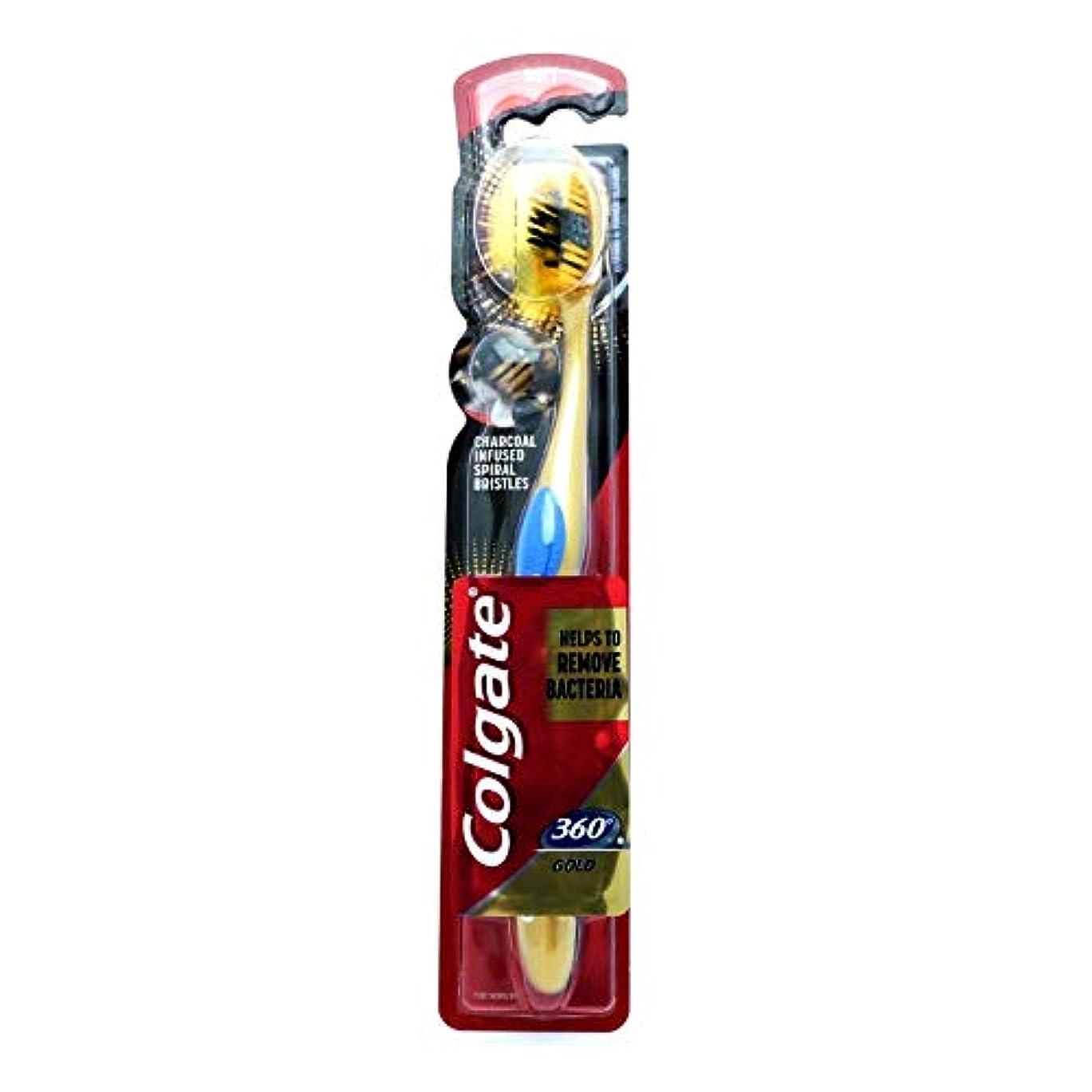 二十フリース壁Colgate Toothbrush Soft Charcoal Infused Spiral Bristles 360 GOLD Helps To Remove Bacteria
