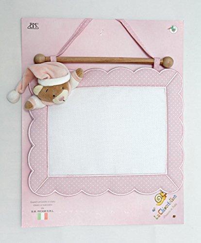 fiocco nascita quadretto rosa da ricamare con orsetto