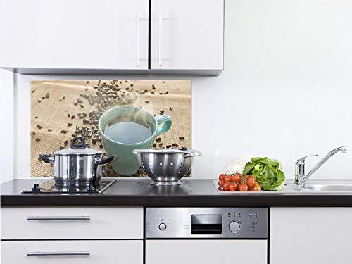 GRAZDesign Küchen Spritzschutz Herd Dampfende Kaffee Tasse - Küchenspiegel Küchenbilder - Küchenrückwand Glas schönes Motiv / 60x40cm
