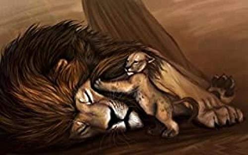 WOMGD® Dierlijke puzzel 1000 stukjes, Lion King en vader Houten puzzels, Educatief spel Stress Reliever Moeilijk uitdagingsspeelgoed voor kinderen