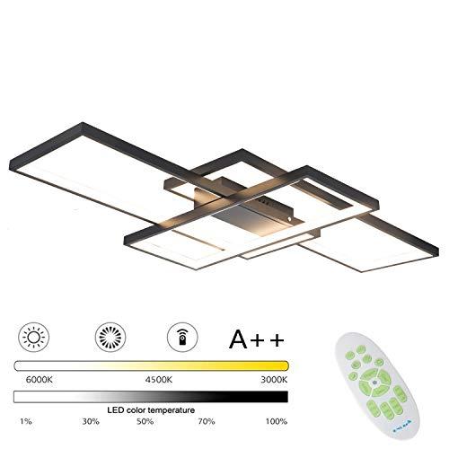 Modern Dimmbar LED Deckenleuchte Wohnzimmerlampe 95W Rechteckig Design Schlafzimmerlampe mit Fernbedienung Metall Acryl Deckenlampe 220V Esszimmer Restaurant Innenbeleuchtung 3000K-6000K