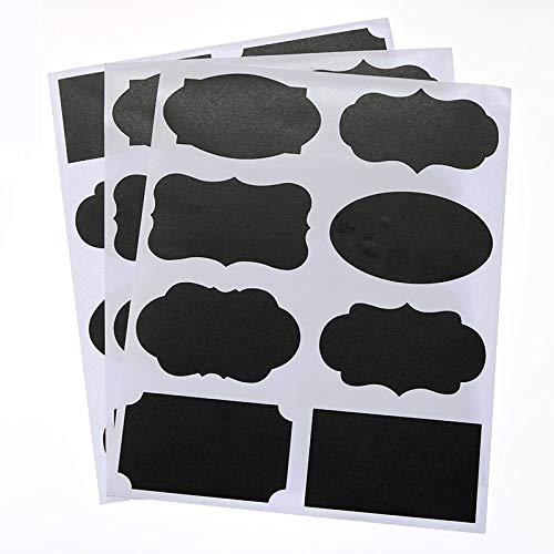 BLOUR Tafelaufkleber Flaschenetikett Schwarzer wiederbeschreibbarer Aufkleber 8,5 * 5 cm Kinder Briefpapier Büro Kleinanzeigen Tag 24pcs / 3 Blätter
