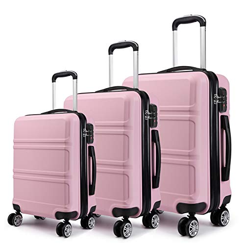 Kono Luggage Sets 3 Pieces Hard Shell Suitcase Set with Spinner Wheels and with TSA Lock for Travel (Pink-1, 3 set)