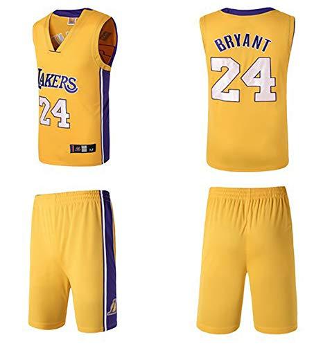 PGODYQ Pantalones Cortos De Baloncesto para Hombre Jersey Kobe 24 Santiago 23 Bryant 8 para Los Fanáticos De Lakers Jersey, Número De Bola Y Logo Chaleco Deportivo Vestime 24 Yellow-XL
