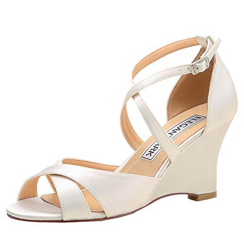 ElegantPark WP1908 Wedding Shoes for Bride High Heel Wedge Sandals for Women Peep Toe Bridal Wedding Sandals Cross Strap Satin Evening Party Dress Sandals Ivory US 7