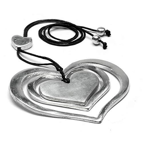 Vestopazzo AL04011 – Collar con colgante de tres corazones 100% de aluminio reciclado