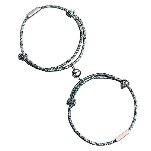Pulsera de pareja, conjunto de pulseras magnéticas, etiqueta personalizada de identificación de nombre personalizada, tejido hecho a mano y pulsera ajustable, Regalos para novio y novia 2pcs