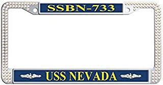 Nuoousol Glitter Rhinestones Auto License Plate Frame, Colorful USS Henry Clay SSBN-625 Officer Rhinestones License Plate Frame Holder with 2 Holes Screws Caps Set