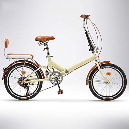 DFKDGL Mountainbike, 6-Gang-Klapprad,Damenrad,Variables 20-Zoll-Rad, ultraleichtes tragbares Fahrrad für Erwachsene, für Bequeme Sitzhöhe einstellbar