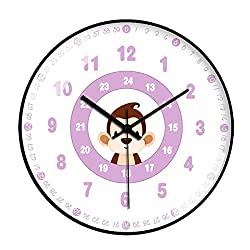 N /A Wall Clock Cute Monkey Fashion Minimalist Design Modern Creative Children's Bedroom Mute Watch Battery-Powered Mute Simple Home Living Room