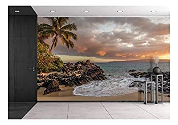 wall26 - Tropical Seascape with Palmtree and Clear Sea - Removable Wall Mural   Self-Adhesive Large Wallpaper - 100x144 inches