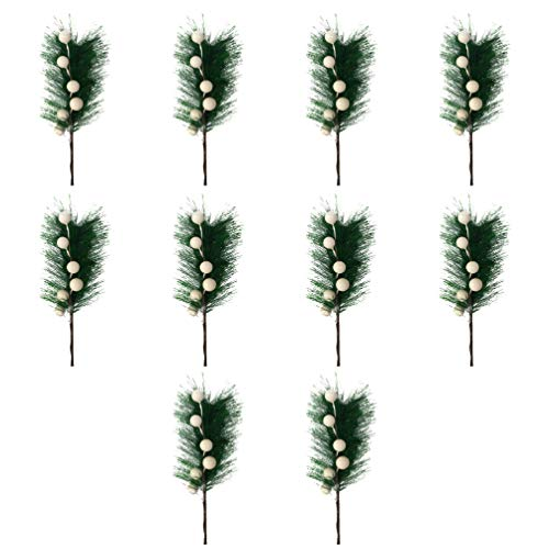 Toyvian 10 Stücke Tannenzweige Beerenzweige Künstliche Kiefer Picks Weiße Beeren Zweig Blumenstrauß für DIY Kranz Weihnachten Girlande Christbaumschmuck Weihnachtsschmuck Basteln Zubehör