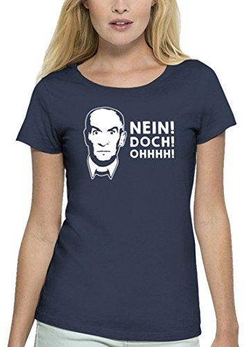 Lustiges Premium Damen T-Shirt aus Bio Baumwolle Nein! DOCH! Ohhhh! Stanley Stella, Größe: XL,Navy