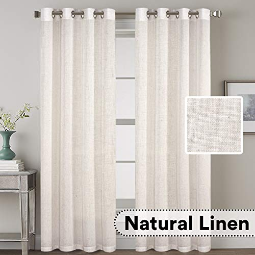 H.VERSAILTEX Elegant Linen Blended Curtains Privacy Protection Light Filtering Nickel Grommet Window Panels/Drapes for Bedroom (Set of 2, 52x84-Inch, Natural)