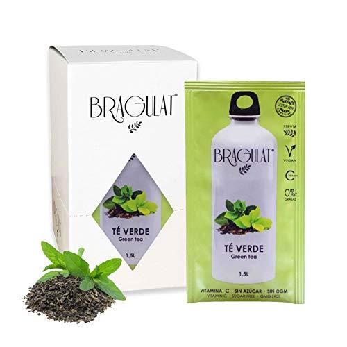 BRAGULAT | Té Verde | Bebidas y Refrescos Instantáneos en Polvo | Sin Azúcar y con Vitamina C | Agua con Sabores | 15 Sobres