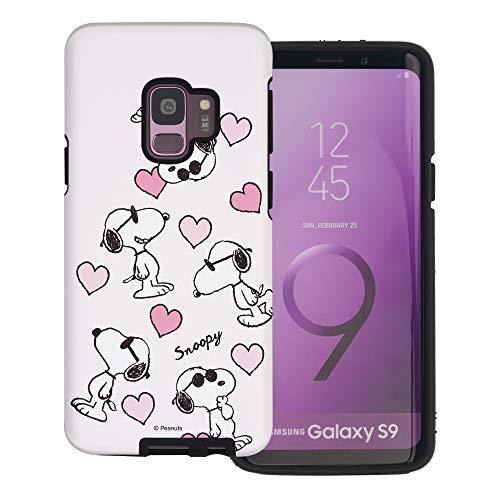 Galaxy S9 Plus ケース と互換性があります Peanuts Snoopy ピーナッツ スヌーピー ダブル バンパー ケース デュアルレイヤー 【 ギャラクシー S9 プラス ケース 】 (スヌーピー な愛 柄) [並行輸入品]