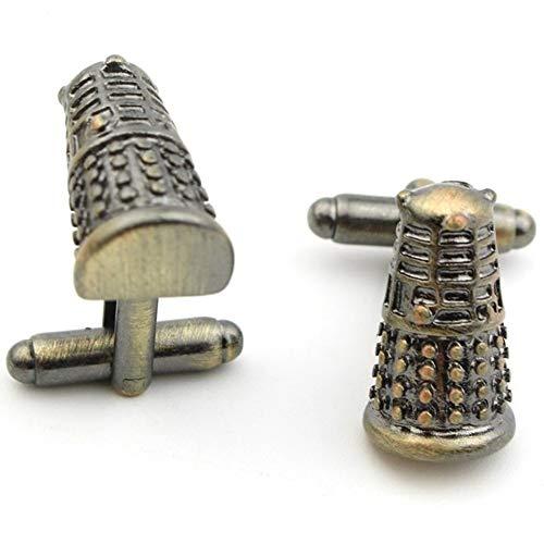 Geek & Glitter Doctor Who Cufflink Set with Gift Box - Tardis, Daleks, Gallifrey, Dr Who Merchandise Jewelry Accessories, Items (Dalek Gold)