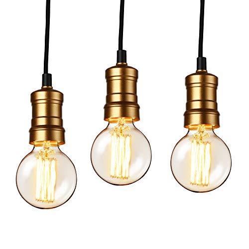 lux.pro] Hängelampe im Retro-Look - 3er Set - (Messing) Edison Lampenfassung