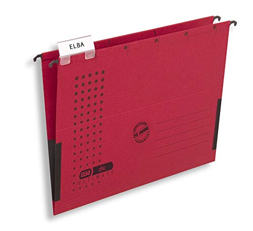 ELBA Hängetasche chic für A4, aus Karton, mit Leinenfröschen, rot, 5er Pack