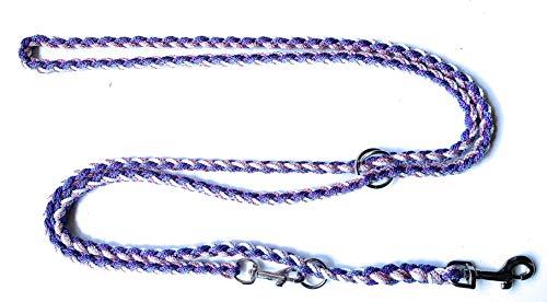 Viva Nature Super- leicht Handgeflochtene Paracord Hundeleine für die Hosentasche/verstellbare Führleine Flechtleine/Funktionsleine Doppelleine ca.2m 3 Ringe (Anna)