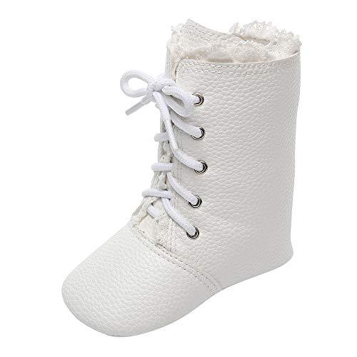 catmoew Schuhe Kinder Baby Einfarbig Schneeschuhe Spitze schnüren Winterstiefel Lange Stiefel Neugeborenes Winter Warme Schuhe Kleinkindschuhe
