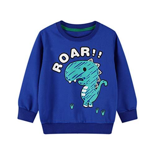 Unisex niños niño niña sudadera cuello redondo jersey manga larga algodón casual camiseta superior Azul B2#azul 2 años