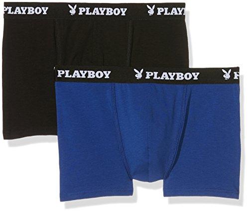 Playboy 40H040, Boxer Uomo, Multicolore(Nero/Blu), XX-Large, (pacco da 2)
