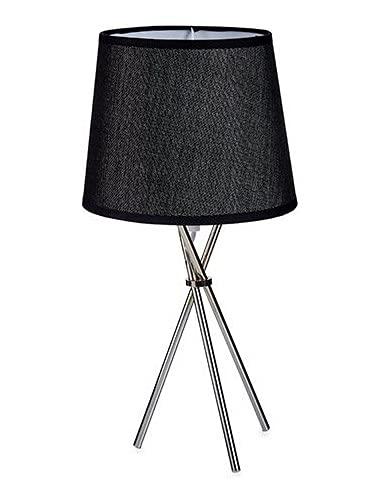 TU TENDENCIA UNICA Lámpara de Mesa Tulipa con Base tipo Trípode de Metal. Pantalla de Cartón Fino (Negro)