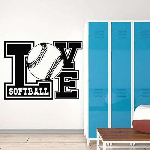 Me encantan los calcomanías de pared de softbol palabra de pelota juegos deportivos pegatinas de pared de vinilo vestuario del jugador sala de entrenamiento arte decorativo dormitorio mural