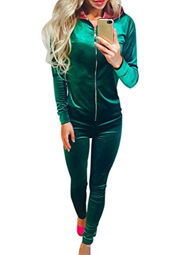 ISSHE Trainingsanzug Frauen Jogginganzug Trainingsanzüge Damen Sportanzug Freizeitanzug Jogginganzüge Für Damen Anzug Jumpsuit Tracksuit Streetwear Hoodie Sweatshirt mit Hose 2pcs Grün XL