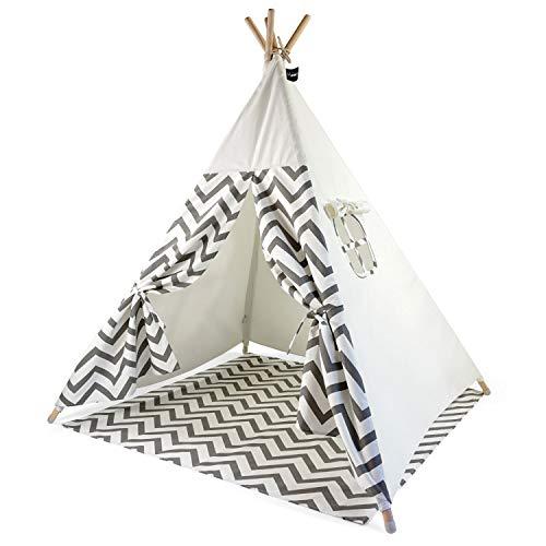 Hej Lønne Kinder Tipi, weißes Zelt mit grauen Zacken, ca. 120 x 120 x 150 cm groß, Spielzelt mit Bodendecke und Fenster, inkl. Beutel und Anleitung, für drinnen und draußen, schadstofffrei